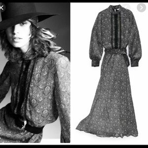 NEW ZARA black print chiffon belted midi dress XL